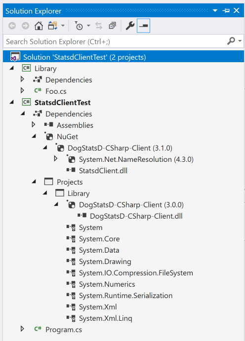 File name conflict between versions of DogStatsD-CSharp-Client in the same solution